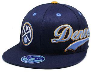 1-NBA-Denver-Nuggets-By-Adidas-FlexFit-210-Fitted-Flat-Brim-Hat-Size-Sm-Med