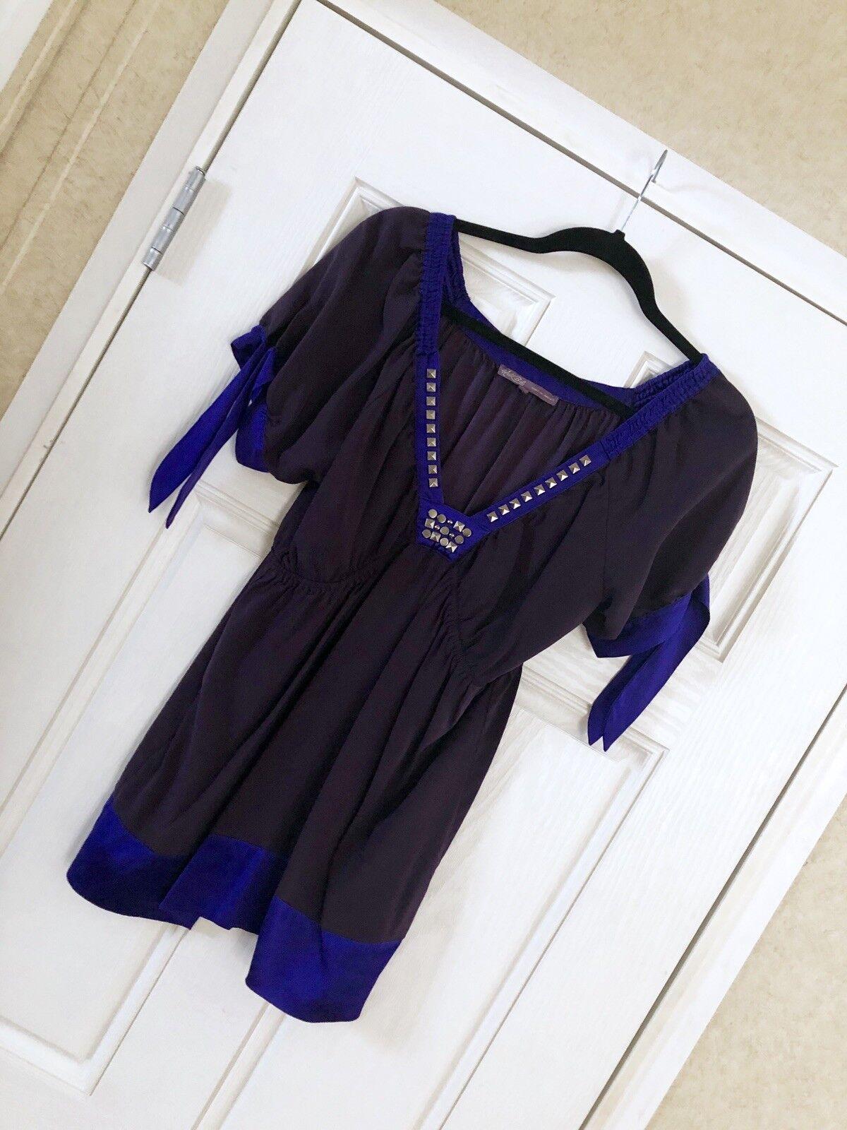 HALE BOB  schwarz & lila Babydoll Top Studded V-Neck 100% Silk  Größe Large