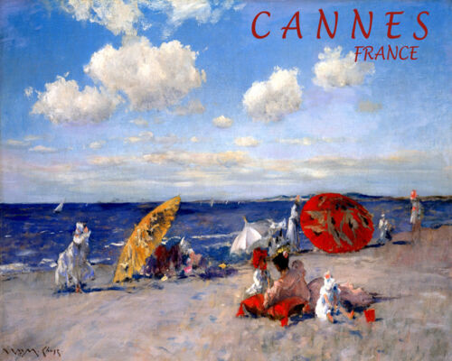 POSTER CANNES FRANCE BEACH SAND FAMILY FUN SUMMER TRAVEL VINTAGE REPRO FREE S//H