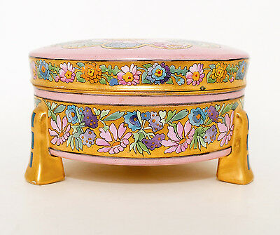 Beautiful Birdy Pink Dresser Porcelain Box, Floral & Gold Enamel on blank