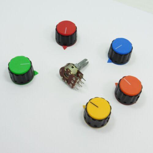 Potenziometro STEREO LINEARE B /& 23mm in Plastica Manopola Ohm Tono Volume Controllo PENTOLA