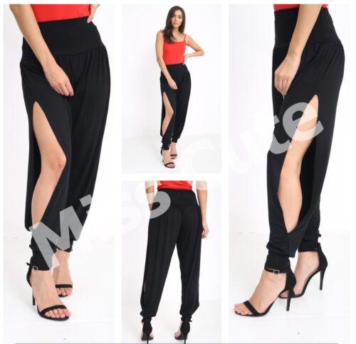 Le donne DONNA CASUAL PLAIN Alta Moda Lato Fessura Alibaba Leggings Harem Pantaloni