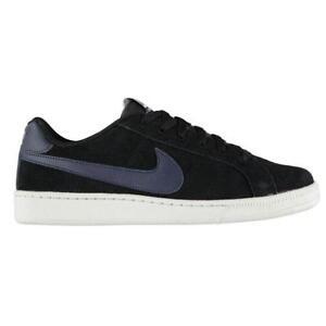 Nike-Hombre-Court-Royale-Gamuza-Entrenadores-Nike-Tribunal-Zapatos-De-Gamuza-Negro-Marina