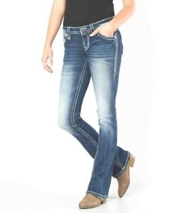 Buckle Rock Revival Womens Leni Low Rise Boot Blue Stretch Denim Jeans 25 x 29