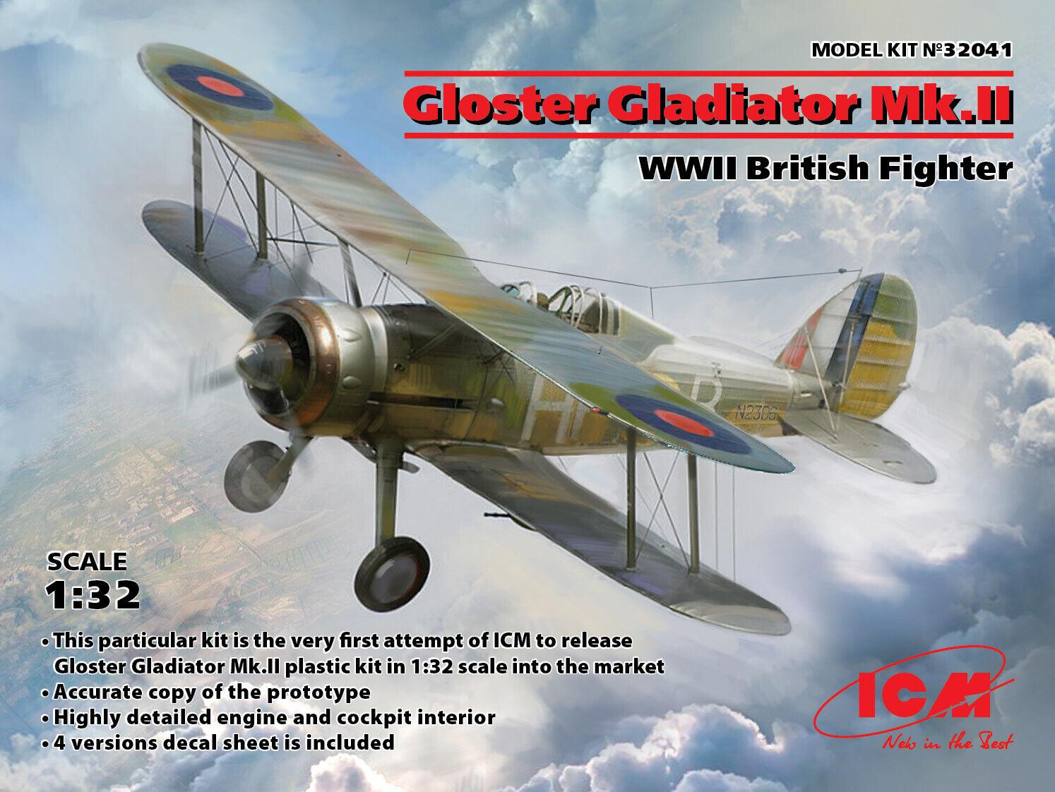 Icm 32041 - Gloster Gladiator Mk.ii WWII Britisch Fighter - 1 3 2
