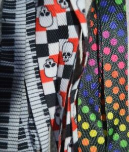 Shoe-Laces-Wide-2cm-Rainbow-Spotty-Piano-Argyle-Skull-Check-Skater-Pink-Green