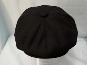MENS-RETRO-BLACK-8-PANEL-BAKER-BOY-CAP-NEWSBOY-CABBY-PAPERBOY-HAT-XXL-AVAILABLE