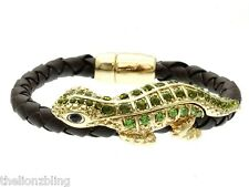 Hip Hop Urban Braided Brown Leather Bracelet Green Crystal Bling Lizard / Gecko