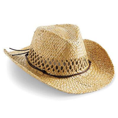 RW4083 Beechfield Unisex Mens//Womens Hand Made Straw Summer Cowboy Hat