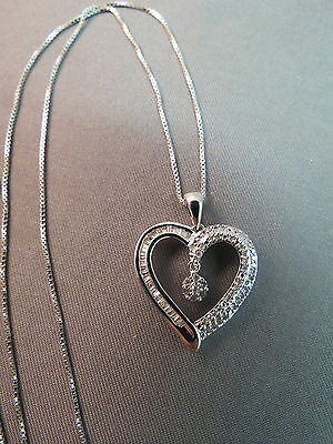 "Diamond Heart Pendant Necklace Sterling Silver 925 Italy Sun 18"" Baguette Dangle"
