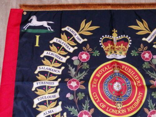 The Royal Fusiliers City of London 1st battalion Regimental colours flag.