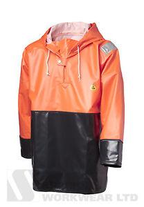 Viking Rubber Reinforced Rain Smock Hooded Fishing Fully Waterproof HiVis Orange