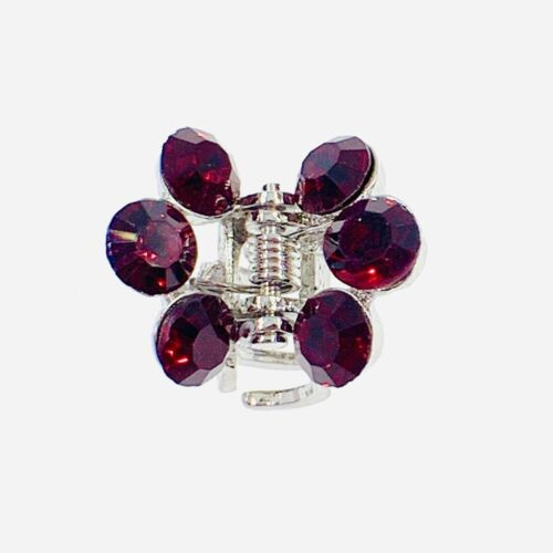 USA Small Metal Vintage Hair Claw Jaw Clip Rhinestone Crystal Hairpin Dark Red 4