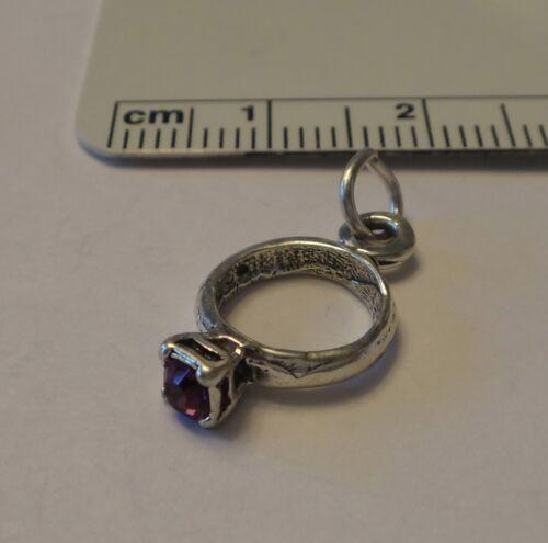 Sterling Silver 18x10mm février Violet Pierre de naissance CZ Anneau Charme