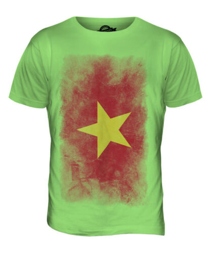 VIETNAM FADED FLAG MENS T-SHIRT TEE TOP VI?T NAM SHIRT VIETNAMESE JERSEY GIFT