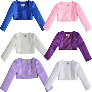 Girls-Long-Sleeves-Beaded-Satin-Bolero-2-3-4-5-6-7-8-9-10-Years