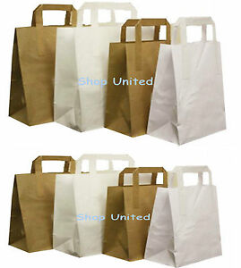 Paper-Carrier-Bags-White-Brown-SOS-Kraft-Takeaway-Party-Lunch-Food-Flat-Handles