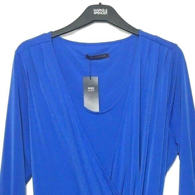 M&S Marks Royal bluee Ladies Asymmetric Hem Soft Stretch Wrap Midi Dress s20 BNWT