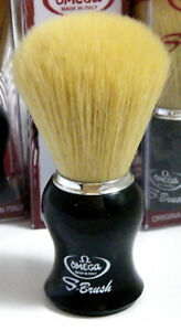Omega-S11206-Synthetic-Bristle-Shaving-Brush-Black-Handle