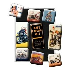 Nostalgie Magnet-Set -Biker Parking Only