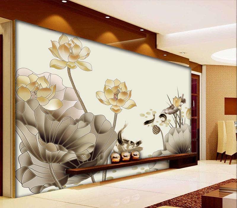 Lotus And Free Carp 3D Full Wall Mural Photo Wallpaper Printing Home Kids Decor
