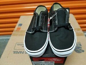 VANS 106 VULCANIZED BLACK/WHITE CANVAS SKATEBOARD SHOES | eBay