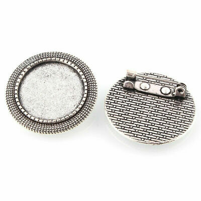 PandaHall 10pcs Antique Silver Oval Tray Vintage Alloy Brooch Cabochon Bezel Settings with Iron Pin Back Bar Findings