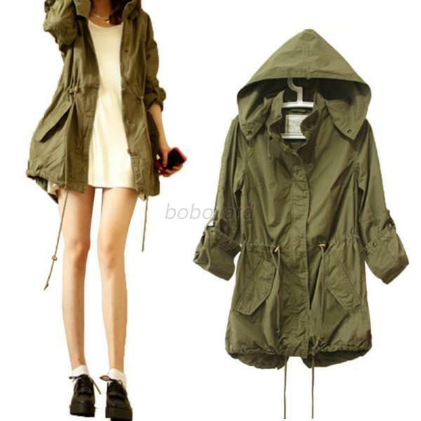Fashion Women Hoodie Drawstring Army Green Military Trench Parka Jacket Coat