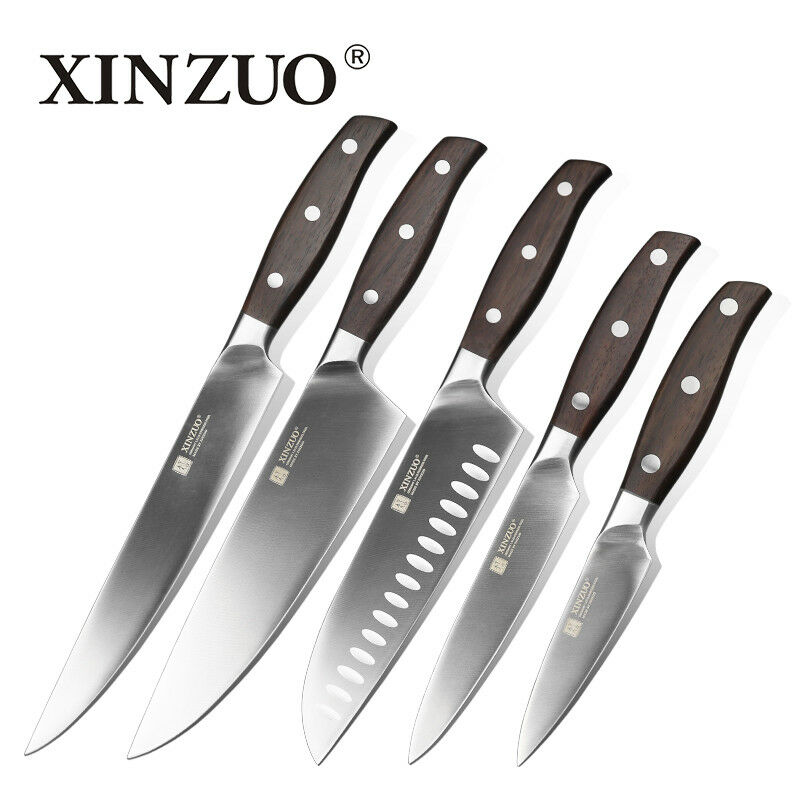 Stainless Steel Knife Set Chef Cleaver Utility Bread Paring Santoku Knives Slice