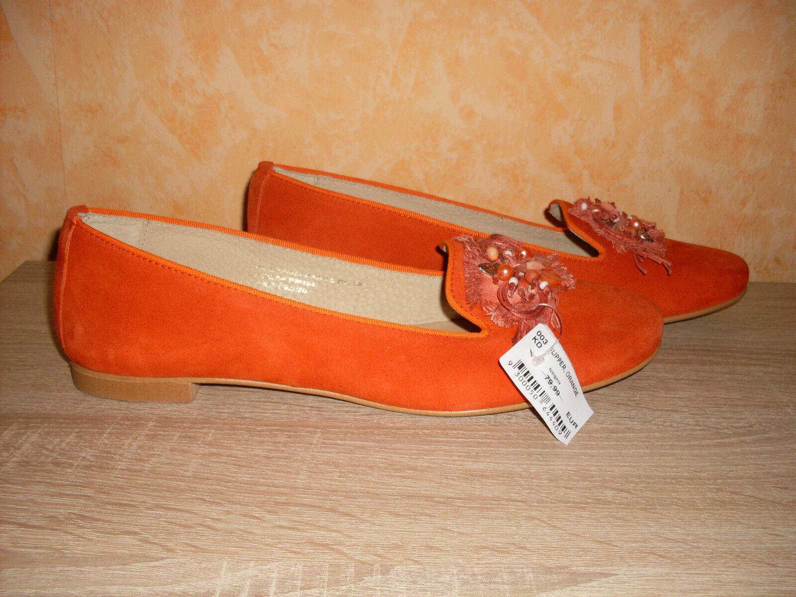 Studio W Slipper     Ballerina NEU Gr. 43 in orange & ganz weiches Leder super abcb1f
