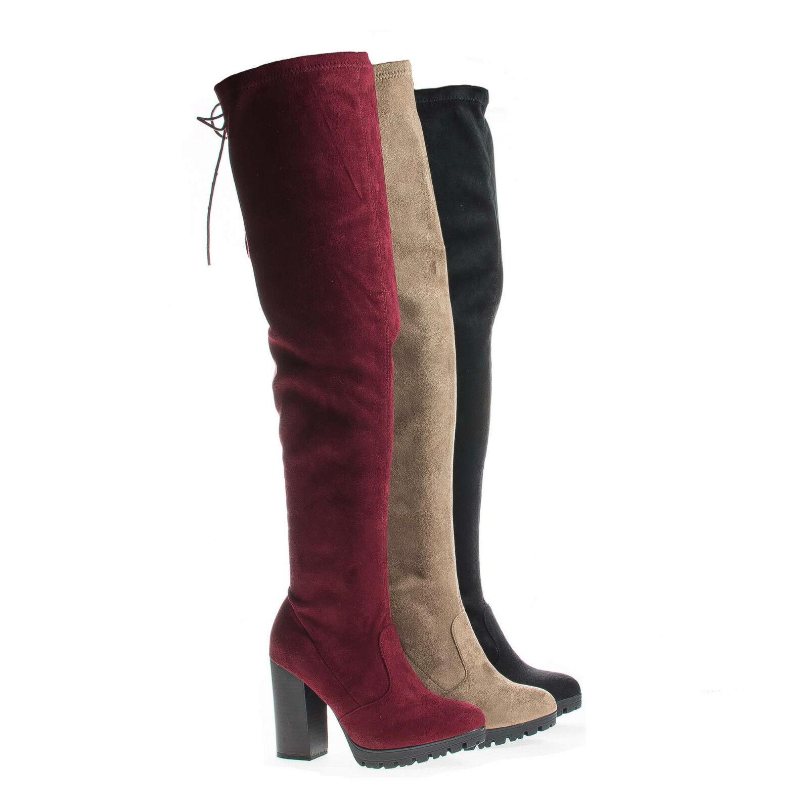 Kimber09 Thigh High Corset Shaft Lug Sole Platform Block Heel Boots