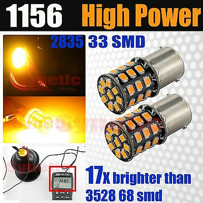 2x 1156 BA15S New High Power 2835 Amber Yellow Turn Signal Corner LED Light Bulb