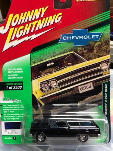1965 Chevy Chevelle 2-Door Wagon 1:64 Johnny Lightning Classic Gold 3B Blue
