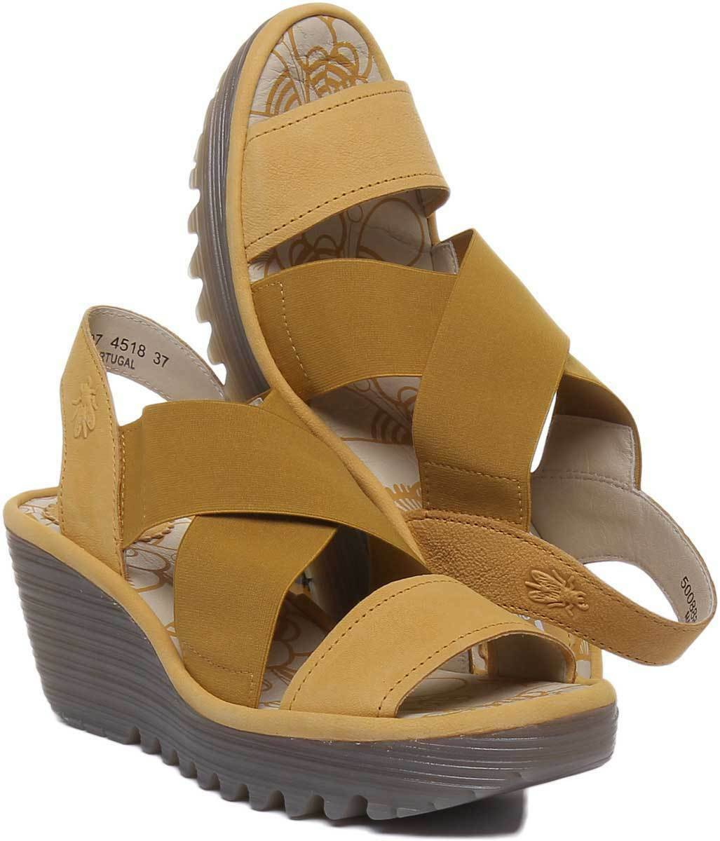 FLY London London London yaji 888 Donne Sandali in giallo in pelle di nabuk TG 54315c