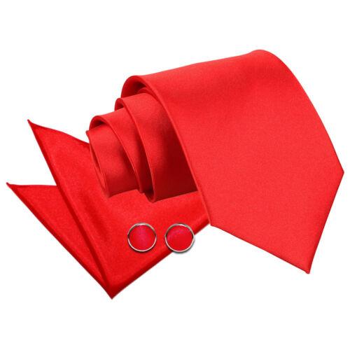 DQT Satin Plain Solid Red Classic Slim Skinny Tie Hanky Cufflinks