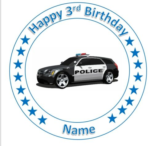 Personalised cake topper police car round square wafer icing edible