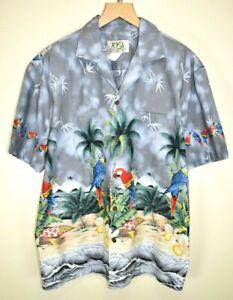 nuovo prodotto 21c2b 2fc04 Dettagli su VINTAGE Ky 'S Camicia Hawaiana Originale Made in Hawaii  Pappagallo & PALME taglia L- mostra il titolo originale