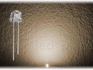 100-x-LED-5mm-straw-hat-WARMWEIss-90-120-weiss-Kurzkopf-Flachkopf-Ultrahell-white