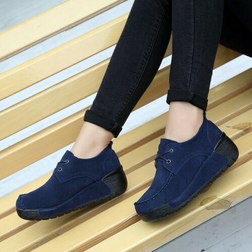New Women/'s Platform Wedge Heels Flats Casual Shoes Round Toe Creepers Outdoor B