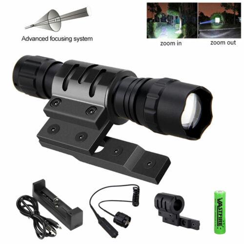Hunting T6 LED Flashlight Light Zoomable 5000LM Gun Lamp W// Mlok Rail Ring Mount