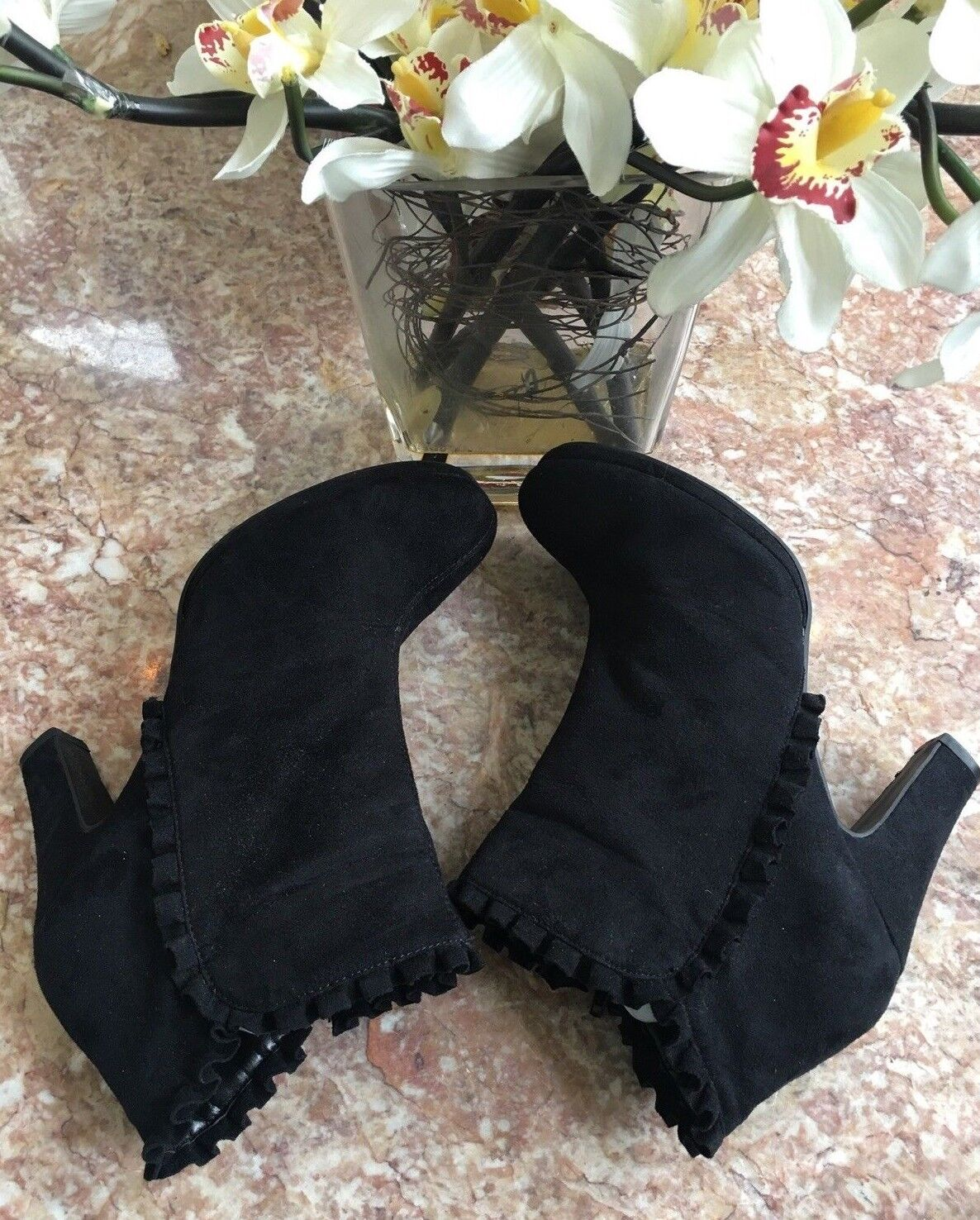 Fashion Bug Women's Black Suede Pleated Dress Size 9.5 Ankle Boots EUC