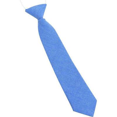 Childrens Kids Boys Pale Blue Cotton Tie Elasticated /& Pre-tied.