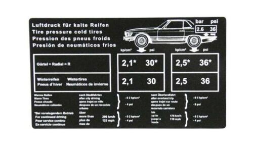 Reifendruck Aufkleber für Mercedes R107 280SL 300SL 450SL 500SL Tankklappe