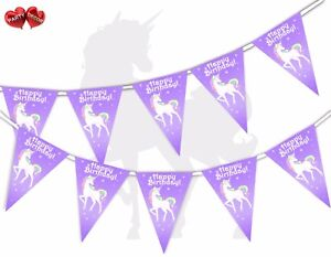 Magic-Happy-Birthday-Theme-Bunting-Banner-15-flags-Unicorn-Stars-by-Party-Decor