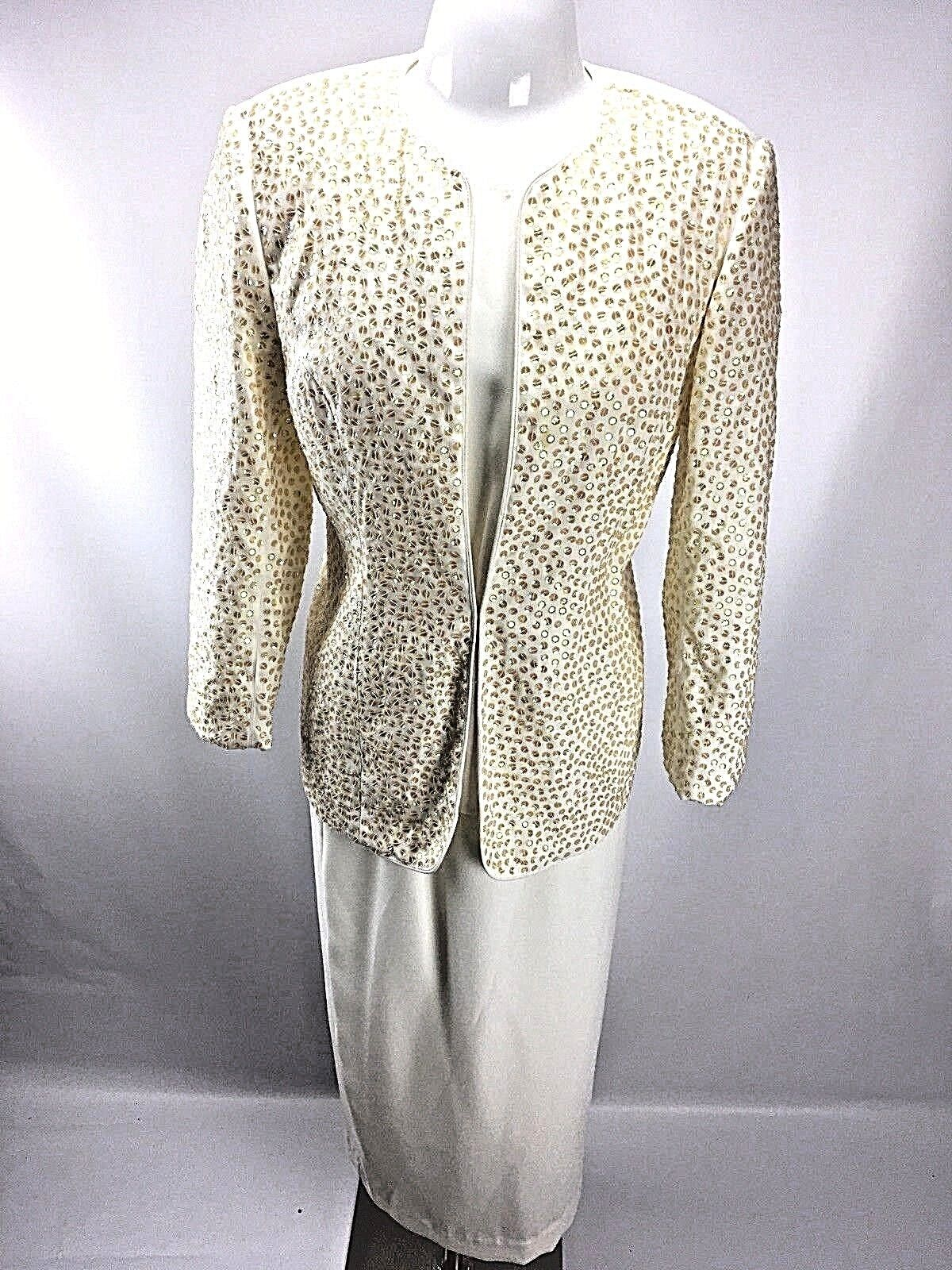 St Anthony Evening Sequin 3pc Suit Ivory MOB Wedding Dress Brown Sz 8 EUC