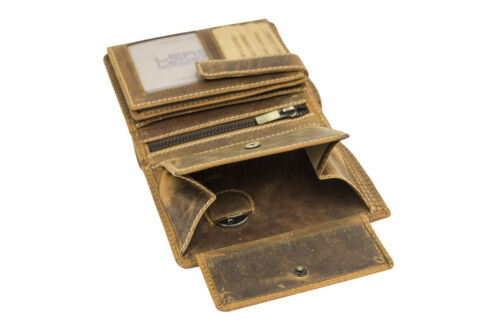 Geldbeutel Kombibörse mit Riegel LEAS im Vintage//Used-Stil in Echt-Leder cognac
