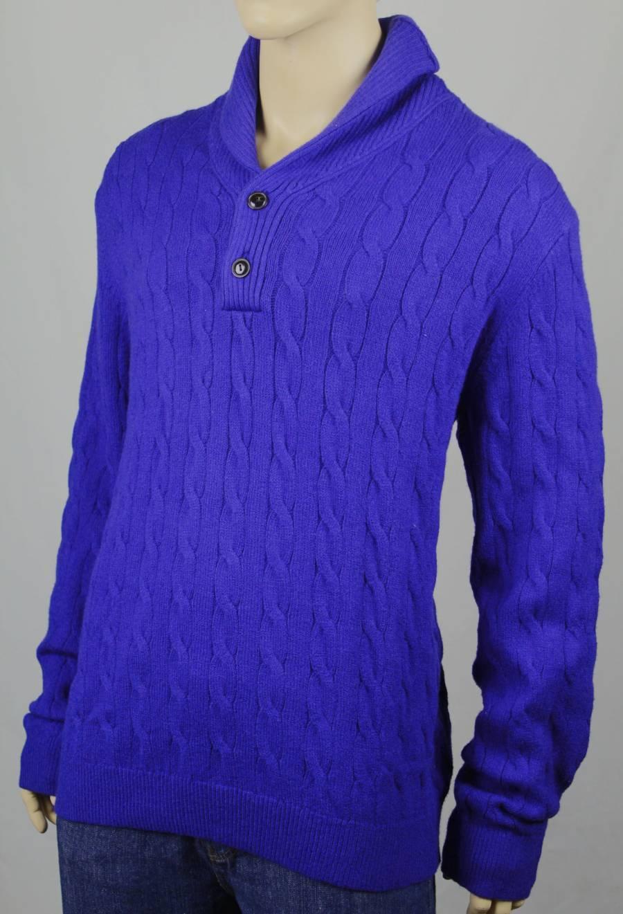 Tommy Hilfiger Blau 1/2 Button Sweater Lux Cotton Faux Leder X-Large XL 110