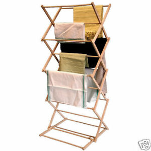 Details About Wooden Folding Concertina Clothes Airer Horse Dryer 5m Laundry Hanger Free Stand