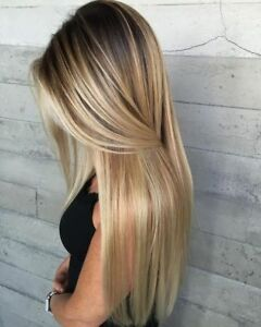 Synthetic Long Straight Hair Ombre Blonde Wig Heat Resistant Full