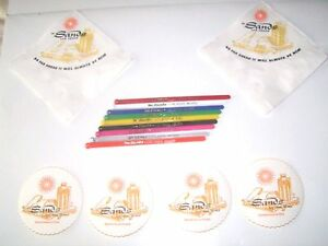Sands Hotel Vegas 24 Piece Cocktail Set 8 Napkins 8 Stirrers NOS 8 Coasters